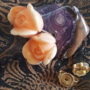 Coral skin rosebud earrings